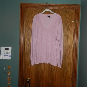 Women's Lane Bryant Pink Sparkle V Neck Sweater